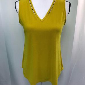 Gold Sun Embellished Sleeveless Blouse NWT